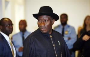Jonathan Goodluck, president of Nigeria, arrives at United Nations headquarters, Tuesday, Sept. 24, 2013.