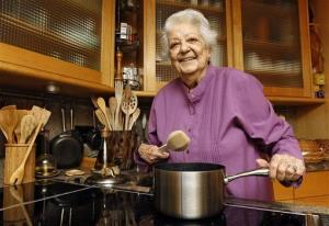 In this May 29, 2012 file photo, chef Marcella Hazan poses in the kitchen of her Longboat Key, Fla., home.
