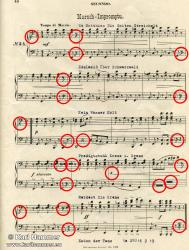 The score, with markings.