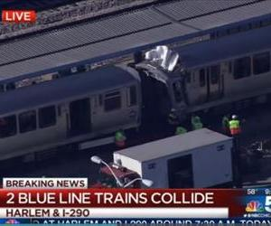The trains that collided are seen in this local news screenshot.