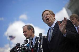 Plaintiff attorneys Theodore Olson, right, and David Boies, meet with the media outside the Supreme Court in Washington, Tuesday, March 26, 2013.