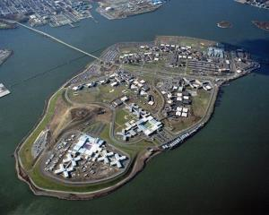 The Riker's Island Penal Complex in New York's East River is seen from the air in this undated photo.