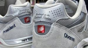A pair of New Balance running shoes, customized for President Barack Obama.