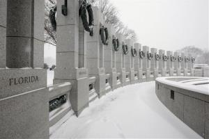 Snow drifts pile up at the World War II National Memorial in Washington, Saturday, Dec. 19, 2009.