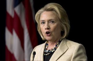 FILE - In this Sept. 9, 2013, file photo, former Secretary of State Hillary Rodham Clinton speaks about Syria in the South Court Auditorium on the White House Complex in Washington. The filmmaker who was making a documentary about Hillary Clinton for CNN says he is backing out of the...