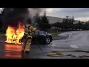 The Tesla Model S burns near a Washington state highway.