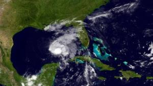 This image provided by NOAA shows Tropical Storm Karen taken late Thursday night, Oct. 3, 2013.