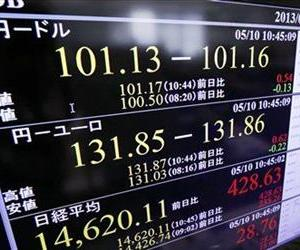 A screen indicates the US dollar against the Japanese yen, top, and Nikkei 225 index, bottom, at a foreign exchange company in Tokyo in this May file photo.