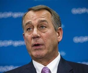 House Speaker John Boehner of Ohio, demands that the White House and congressional Democrats negotiate with congressional Republicans, Oct. 4, 2013, during a news conference on Capitol Hill.