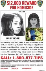 This poster provided by the New York City Police Department seeks help identifying the victim dubbed Baby Hope.