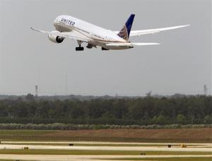 In this May 20, 2013 file photo, a United Airlines Boeing 787 Dreamliner takes off from Bush Intercontinental Airport in Houston.