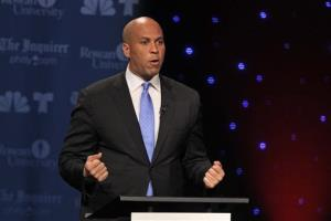 Cory Booker participated in a debate at Rowan University in Glassboro, N.J., Wednesday.