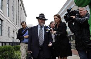 Attorney Jacob Laufer, who represents Ariel Potash, answers questions as he leaves federal court in Trenton, N.J.