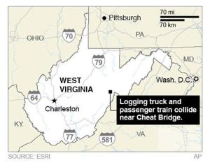 Map locates Cheat Bridge in West Virginia, the site of a collision between a logging truck and a passenger train.