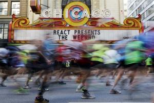 Runners participate in the Chicago Marathon in Chicago.