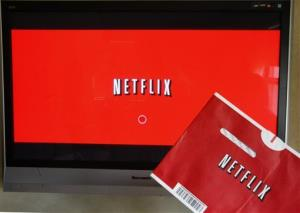 A Netflix DVD envelope and Netflix on-screen television menu.