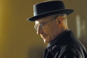 This image released by AMC shows Walter White, played by Bryan Cranston, wearing a Bollman 1940's pork pie hat in a scene from the second season of Breaking Bad.