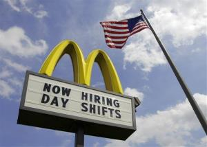A sign advertising job openings outside a McDonalds restaurant in Chesterland, Ohio.