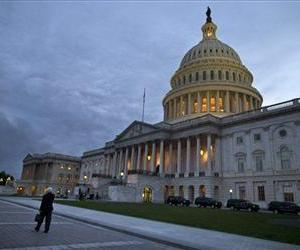 This Oct. 15, 2013, photo, shows a view of the US Capitol building at dusk in Washington.