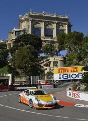 British driver Sean Edwards in action to win the Porsche Mobil 1 Supercup race in Monaco on Sunday, May 26, 2013.