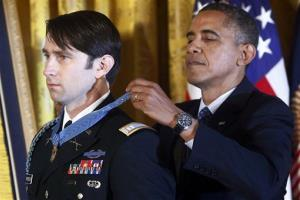 President Obama awards the Medal of Honor to former Army Capt. William D. Swenson Tuesday.