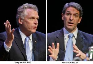 In these Oct. 10, 2013 photos, Democrat Terry McAuliffe and Republican Ken Cuccinelli talk during a forum at the University of Richmond.