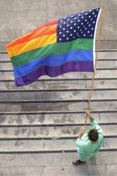 A rainbow US flag outside San Francisco's City Hall.