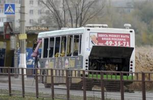 The damaged bus is examined by experts in Volgograd.