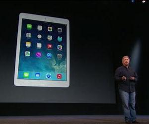 The iPad Air is seen in this screenshot from the live stream of today's Apple's event.