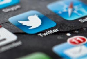 A smartphone display shows the Twitter logo.