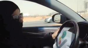 In this image made from video, a Saudi woman drives a vehicle in Riyadh today.