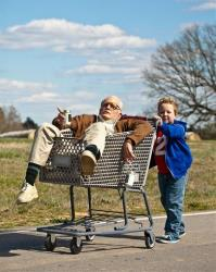 Johnny Knoxville, left, as Irving Zisman and Jackson Nicoll as Billy in Jackass Presents: Bad Grandpa.