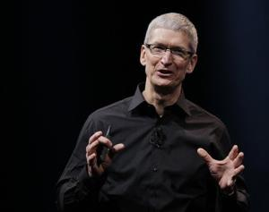 In this Wednesday, Sept. 12, 2012 photo, Apple CEO Tim Cook speaks during an introduction of the new iPhone 5 in San Francisco.
