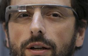 In this file photo, Google co-founder Sergey Brin wears Google Glass glasses.