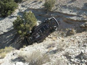 This photo released by the Utah Highway Patrol shows David Welch's vehicle in a ravine in eastern Utah.