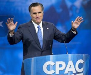 In this March 15, 2013, file photo, Mitt Romney acknowledges the crowd prior to speaking at the 40th annual Conservative Political Action Conference.