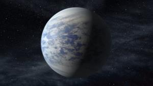 This artist's rendition shows Kepler-69c, a super-Earth-size planet in the habitable zone of a star like our sun, located about 2,700 light-years from Earth in the constellation Cygnus.
