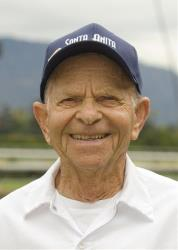 Veteran Santa Anita paddock guard John Shear, in a file photo.