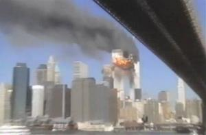 In this frame grab image taken from a video shot by Hiro Oshima, the second plane of the attacks on the World Trade Center impacts the south tower, Tuesday Sept., 11, 2001.