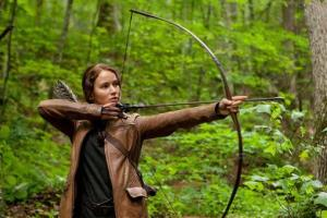 Jennifer Lawrence portrays Katniss Everdeen in a scene from 'The Hunger Games.' The movie passes the Bechdel test.