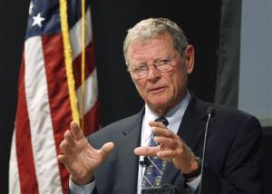 In this Aug. 22, 2011 file photo, US Sen. Jim Inhofe, R-Oklahoma, gestures as he discusses terrorist threats to the US during a speech at the Oklahoma City Bombing Memorial & Museum, in Oklahoma City.