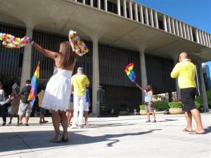 Gay-marriage supporters rally outside the Hawaii Capitol in Honolulu ahead of the Senate vote.