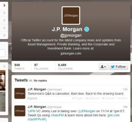 A screenshot of JPMorgan's Twitter page.