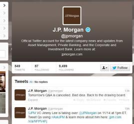 A screenshot of JPMorgan's Twitter page.