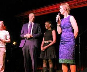 In this May 12, 2013, actress Cynthia Nixon, right, speaks at a LGBT for BDB, campaign event in New York.