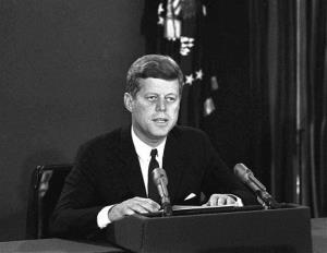 In this Oct. 22, 1962 file photo, President John F. Kennedy makes a national television speech from Washington.