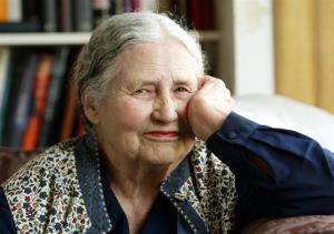 In this April 17, 2006 file photo, Writer Doris Lessing, 86, sits in her home in north London.