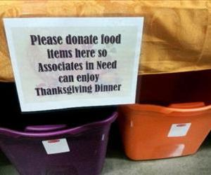 This photo, which is being circulated by the activist labor group OUR Walmart, purports to show food drive bins in a WalMart employees area.