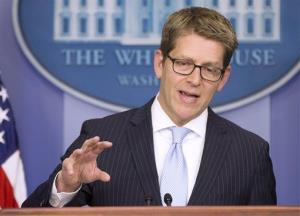 White House press secretary Jay Carney gestures during the daily press briefing, Monday, Nov. 18, 2013, at the White Hosue in Washington.