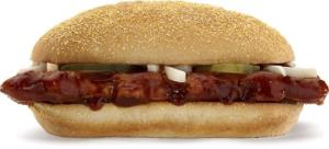 This product image of McDonald's shows their McRib sandwich.